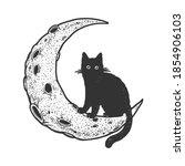 cartoon cat on moon sketch... | Shutterstock .eps vector #1854906103