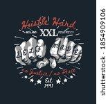 hustle hard slogan with graphic ... | Shutterstock .eps vector #1854909106