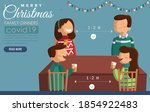 family dinner at christmas time ... | Shutterstock .eps vector #1854922483