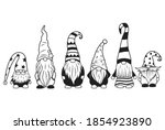 set of little garden gnomes.... | Shutterstock .eps vector #1854923890