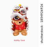 happy time slogan with bear... | Shutterstock .eps vector #1854926926
