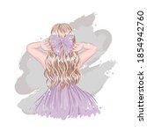 cute stylish blonde hair girl... | Shutterstock .eps vector #1854942760