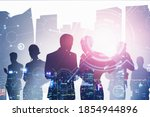 silhouettes of business people... | Shutterstock . vector #1854944896