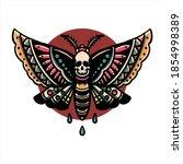 death butterfly tattoo vector...   Shutterstock .eps vector #1854998389
