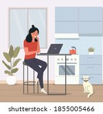 young  woman sitting on the... | Shutterstock .eps vector #1855005466