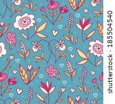 doodle flowers bright seamless... | Shutterstock .eps vector #185504540