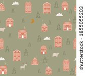 seamless pattern with christmas ... | Shutterstock .eps vector #1855055203