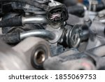 Throttle injection system on motorcycle engines - stock photo