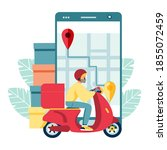 scooter with delivery man flat... | Shutterstock .eps vector #1855072459