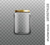 realistic glass jar with gold... | Shutterstock .eps vector #1855074133