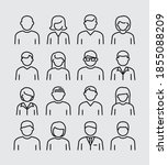 people avatars vector line icons | Shutterstock .eps vector #1855088209