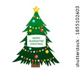 christmas tree with face mask...   Shutterstock .eps vector #1855102603