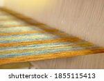 Closeup of multicolour yarn on...