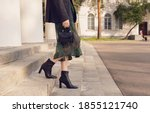 Woman Pose In Black Ankle Boots ...