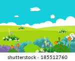 cartoon natural landscape | Shutterstock . vector #185512760
