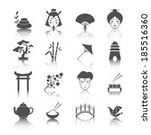 japanese culture icons set of... | Shutterstock . vector #185516360