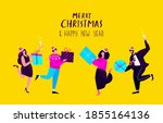 merry christmas and happy new...   Shutterstock .eps vector #1855164136