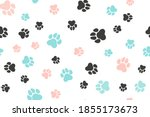 doodle dog paw seamless... | Shutterstock .eps vector #1855173673