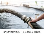 Small photo of Engeneer hold pipe of power pump machine pouring mud sludge waste water with sand silt on ground. Sand-wash and coast-depeening. Septic sewage maintenance service. Industrial environment pollution