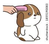 brush the puppy. dog salon.... | Shutterstock .eps vector #1855190083