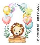 watercolor cartoon lion with...   Shutterstock . vector #1855192270