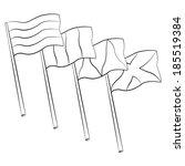 black outline vector flag on... | Shutterstock .eps vector #185519384