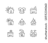 Human Shelters Linear Icons Set....