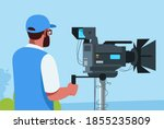 cameraman semi flat vector... | Shutterstock .eps vector #1855235809
