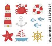 nautical set icons cartoon... | Shutterstock .eps vector #1855246819
