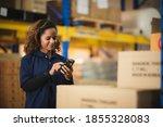 Warehouse Worker Using Bar Code ...