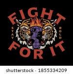 burning globe inside tiger head ...   Shutterstock .eps vector #1855334209
