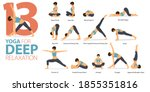 infographic 13 yoga poses for...   Shutterstock .eps vector #1855351816