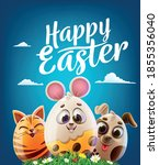 eggs decorated with dog cat... | Shutterstock .eps vector #1855356040