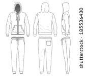 blank men's sweat suit in front ... | Shutterstock .eps vector #185536430