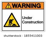 warning under construction... | Shutterstock .eps vector #1855411003