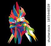 colorful rooster head with cool ... | Shutterstock .eps vector #1855448539