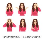 set of young beautiful woman...   Shutterstock .eps vector #1855479046