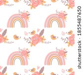 pink floral rainbow pattern...   Shutterstock . vector #1855487650
