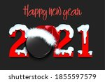 snowy new year numbers 2021 and ... | Shutterstock .eps vector #1855597579