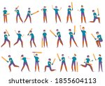 kids playing cricket icons set. ... | Shutterstock .eps vector #1855604113