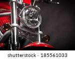 Color Shot Of A Red Motorcycle...