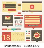 set of flat web elements  icons ...