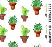 watercolor green cactus and... | Shutterstock . vector #1855615123