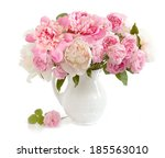 Stock photo peony and roses bunch in vase isolated on white background 185563010
