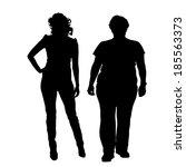 vector silhouette of women on a ... | Shutterstock .eps vector #185563373