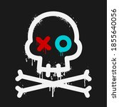 cartoon skull with paint drips | Shutterstock .eps vector #1855640056