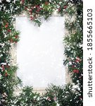 christmas tree branches with... | Shutterstock . vector #1855665103