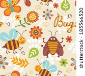 cute bugs colorful seamless... | Shutterstock .eps vector #185566520