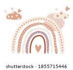 scandinavian boho nursery... | Shutterstock .eps vector #1855715446
