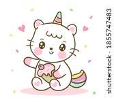 cute unicorn cat vector hoding... | Shutterstock .eps vector #1855747483